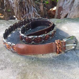 Accessories - Leather/metal brown braided belt